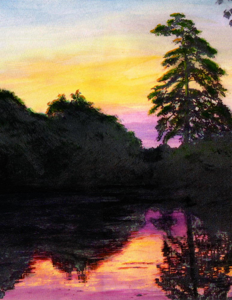 Sunrise Pond Maryland Landscape Original Fine Art Painting, detail; $450 17 x 12 inches. $18 to $24 medium-size prints. Free downloads, wallpaper. An original multimedia acrylic/oil painting, Maryland, Anne Arundel county or nearby, pond at sunrise. GrlFineArt. Fine art work, fine art decor, fineart; landscapes, seascapes, boats, figures, nudes, figurative art, flowers, still life, digital abstracts. Multimedia classical traditional modern acrylic oil painting paintings prints.