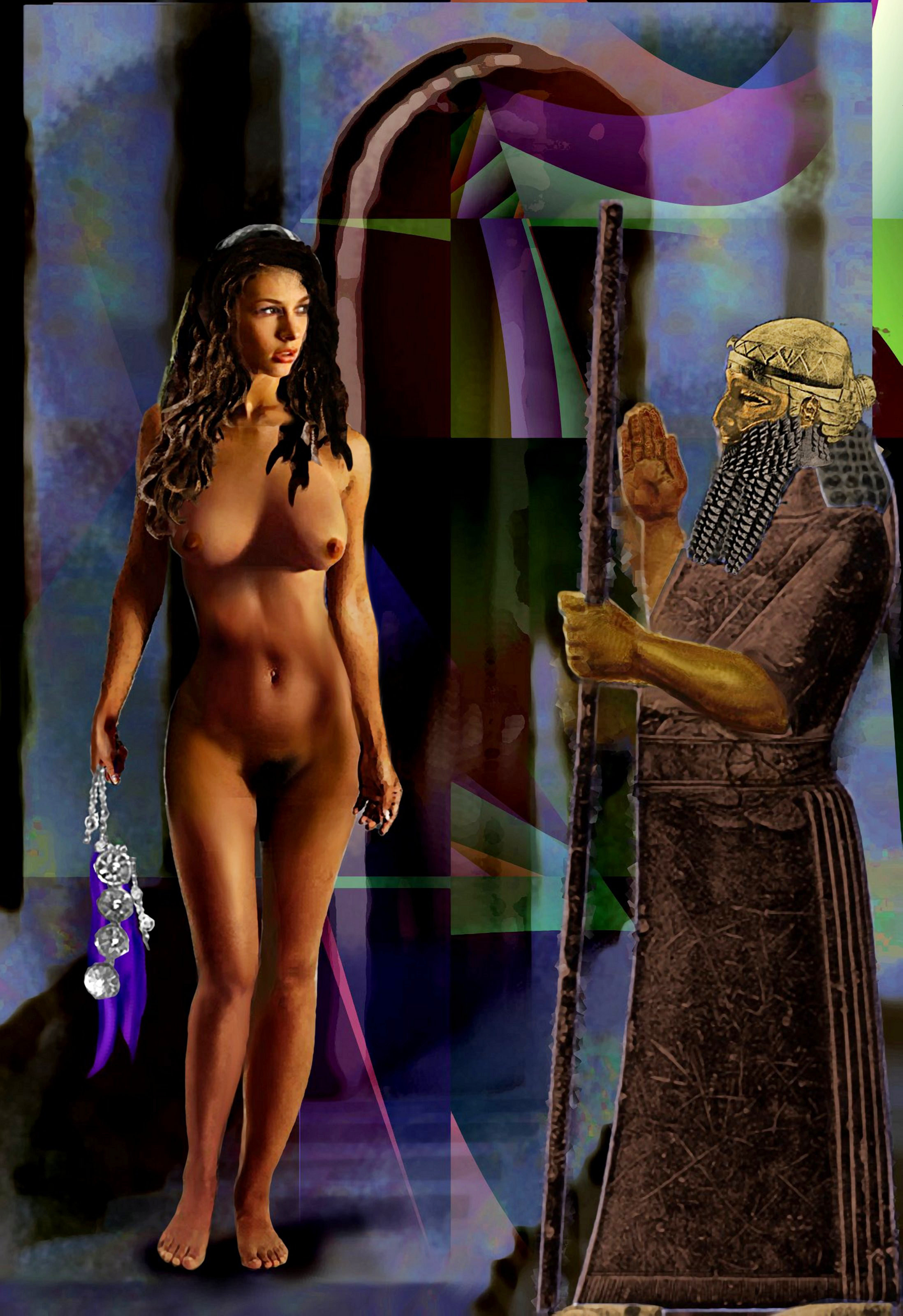 FEMALE NUDE JEAN AS                                 GODDESS IANNA 7th GATE - ORIGINAL                                 DIGITAL FINE ART WORK - original fine                                 art work by G. Linsenmayer