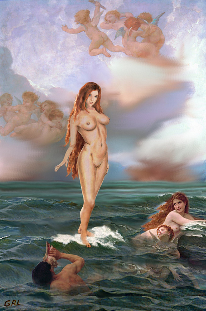 FINE                                 ART FEMALE NUDE TASHA AS GODDESS                                 APHRODITE - original fine art work by G.                                 Linsenmayer