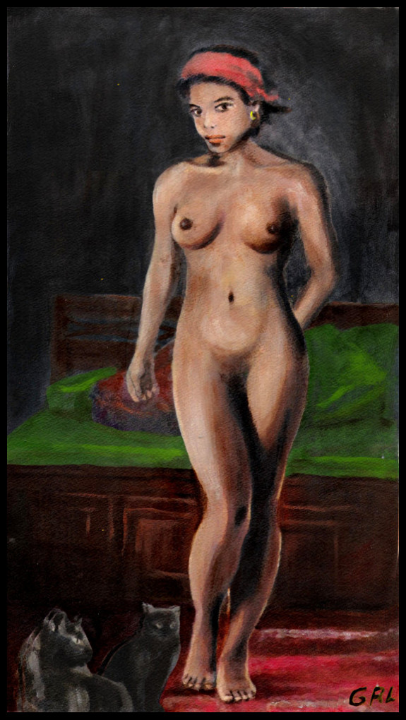 FINE ART FEMALE NUDE                                           STANDING WITH CATS - original                                           fine art work by G.                                           Linsenmayer