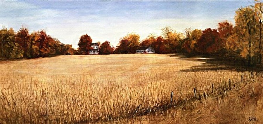 AUTUMN FIELDS                                 SOUTHERN MARYLAND LANDSCAPE FINE ART                                 PAINTING - original fine art work by G.                                 Linsenmayer - #AUTUMN #FIELDS #MARYLAND                                 #LANDSCAPE # PAINTING #GrlFineArt