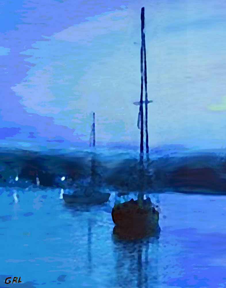 QUIET EVENING                                         MARYLAND CHESAPEAKE BAY DETAIL                                         MULTIMEDIA FINE ART PAINTING